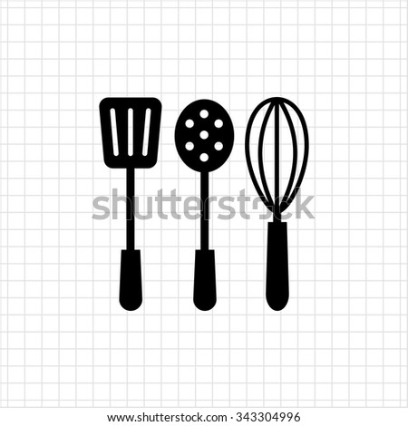 Vector icon of turner, skimmer and whisk silhouettes