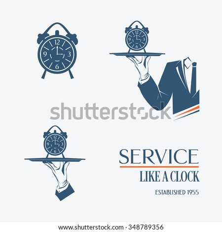 Vector icon of waiter hand with a tray and clock alarm  isolated. Simple illustration vector logo, isolated. Service like a clock sign. Classic banner or label for any business.  - stock vector