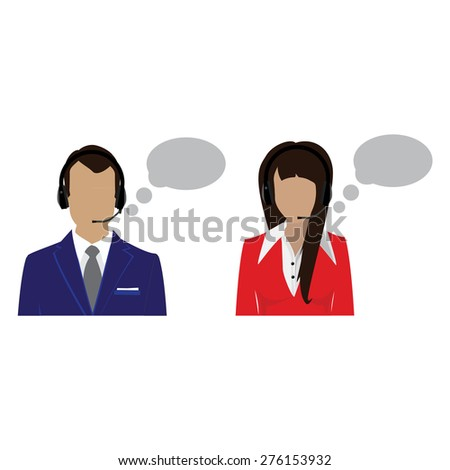 Vector icon operators in headset. Call center female and male avatar. Woman and  support phone operators. - stock vector