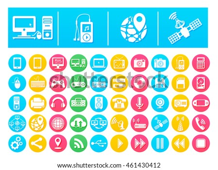 Vector Icon Pack Gadgets and Technology Flat in Colorful Circles
