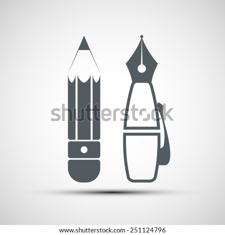 Vector icon pencil and pen - stock vector