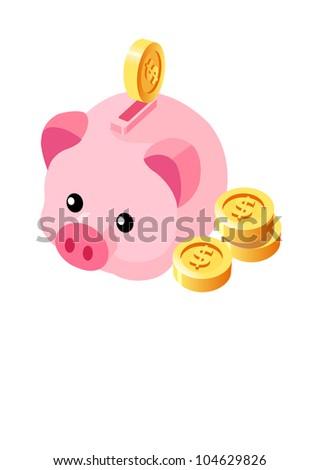 Vector Icon  piggy bank - stock vector