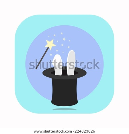 Vector Icon - Rabbit in Hat with Magic Wand - stock vector