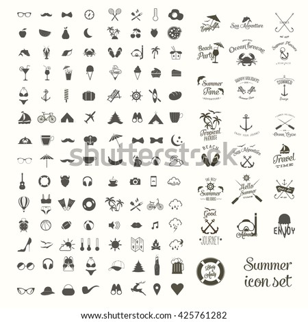 Vector icon set and labels