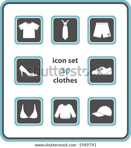 vector icon set 30: clothes - stock vector