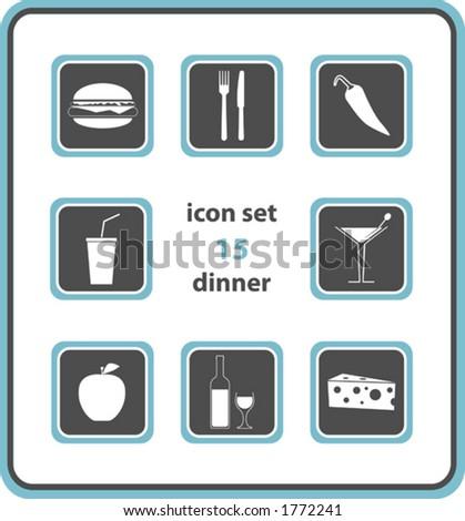 vector icon set 15: dinner - stock vector