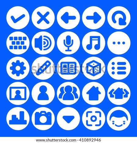 Vector icon set for mobile devices apps and web sites graphic users interfaces. Multimedia and social icons for online social networks, mobiles phones, tablets, computers. Vector social & media icons - stock vector