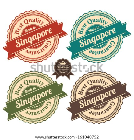 Vector : Icon Set for Quality Assurance and Quality Management Concept Present By Circle Colorful Vintage Style Icon With Made in Singapore Best Quality Guarantee Isolated on White Background - stock vector