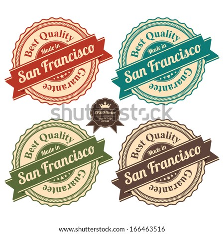 Vector : Icon Set for Quality Assurance and Quality Management Concept Present By Circle Colorful Vintage Style Icon With Made in San Francisco Best Quality Guarantee Isolated on White Background  - stock vector