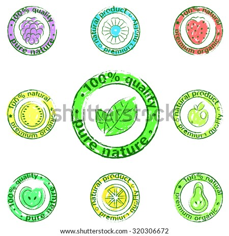 vector icon set - labels of natural products - stock vector