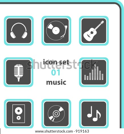 vector icon set 01: music color and size as you wish - stock vector