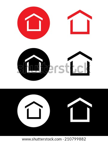 Vector icon set of a house. Can be used as a logo, icon, symbol or a web site button. - stock vector
