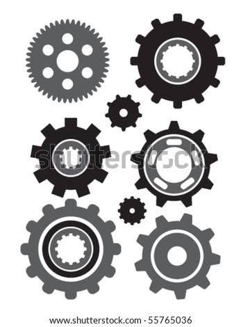 Vector icon set of gears - stock vector