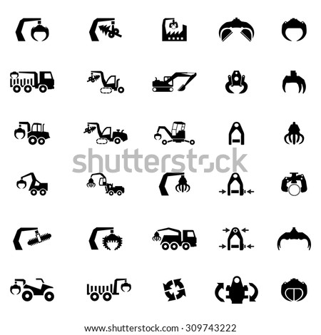 Vector icon set of Heavy machine, tractor,bulldozer and vehicles  - stock vector