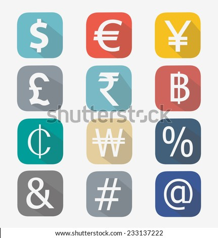 Vector icon set of modern currency isolated on a white background - stock vector