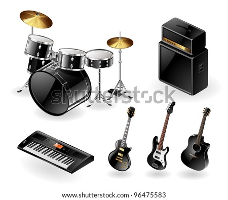 Vector icon set of modern electric musical instruments - stock vector