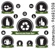 Vector icon set of recyclable materials for waste management labels, publications, infographics, etc. - stock vector