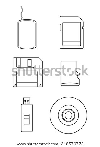 vector icon set of storage media in contour - stock vector