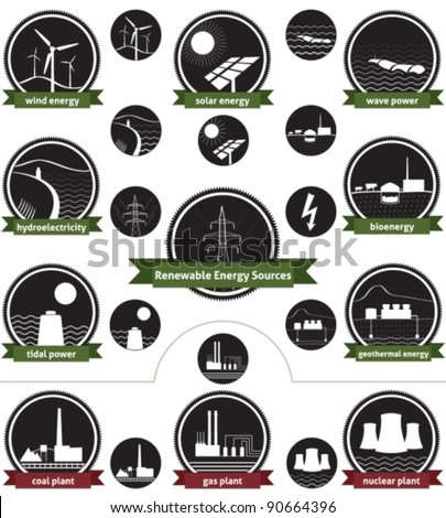 Vector icon set of sustainable energy generation and the three main non-renewable energy sources today