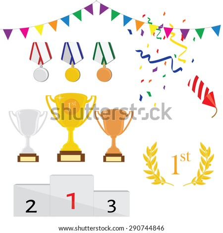 Vector icon set of three trophy first, second and third place. Golden, silver and bronze medals. Winner podium. Laurel wreath. Sport award - stock vector