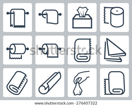 Vector icon set of towels, napkins and paper - stock vector