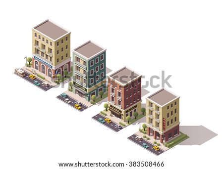 Vector Icon Set or infographic element of the isometric town buildings, stores, shops and houses with cars, tree and street elements - stock vector