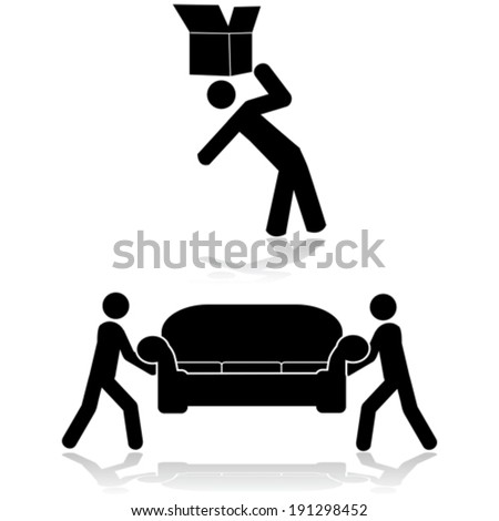 Vector icon set showing a couple of people moving a sofa and another moving a box