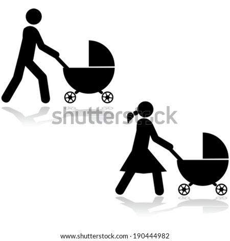 Vector icon set showing a man and a woman pushing a stroller around - stock vector