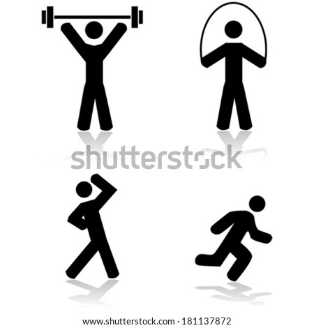 Vector icon set showing a person doing different types of exercise - stock vector