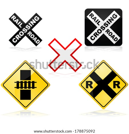 Vector icon set showing different traffic signs for a railroad crossing - stock vector