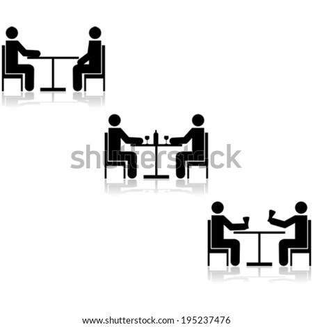 Vector icon set showing three different meetings taking place at a table