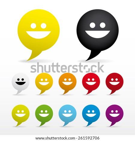 Vector icon set smiley face - smile. Bubble shape. Colored. Eps 10 vector file.  - stock vector