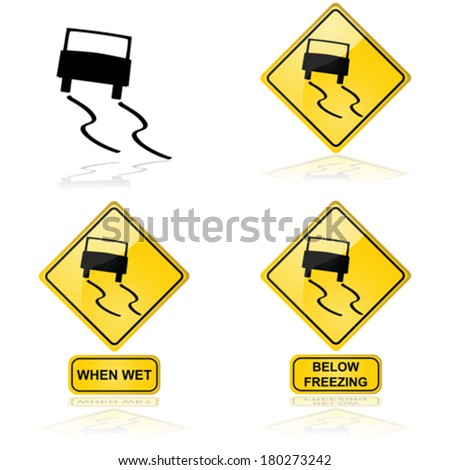 Vector icon showing a car skidding on a slippery road or surface