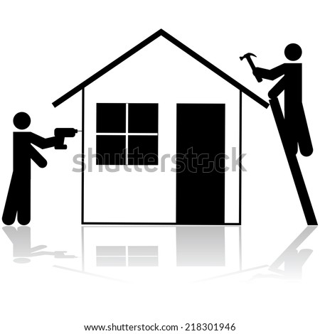 Vector icon showing a couple of handymen working on a house renovation project  - stock vector