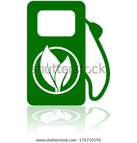 Vector icon showing a green gas pump with a leaf on it to represent an environmentally friend option of fuel - stock vector