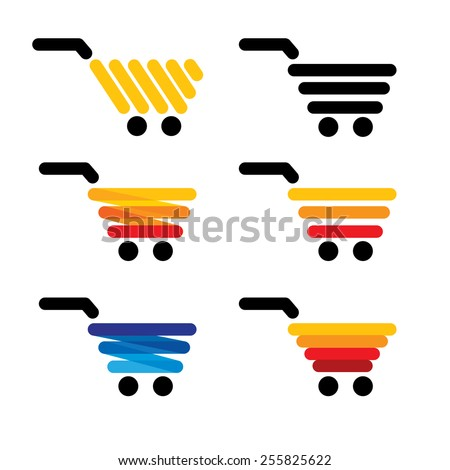 vector icon simple abstract lines shopping carts collection set - concept graphics is many colors like blue orange yellow black - stock vector