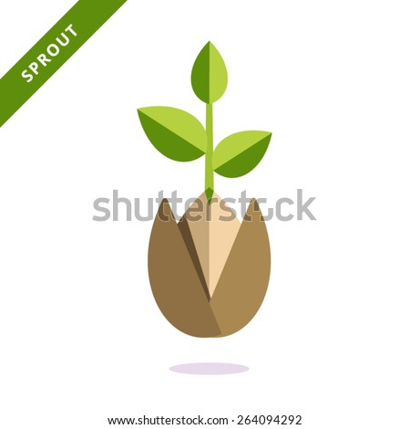 Vector icon sprout. Can be used for web design and printing. - stock vector