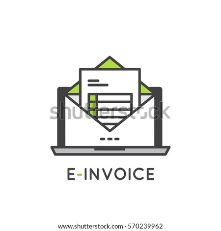 Vector Icon Style Illustration Concept Of Electronic E Invoice Mail Paper  Inbox  Invoice Logo