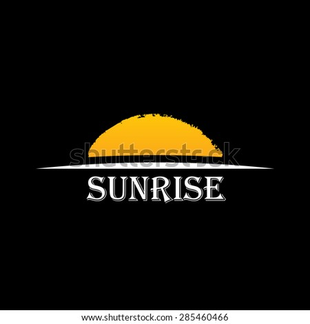 Vector Icon Sun over horizon. Sunrise logo yellow symbol - stock vector