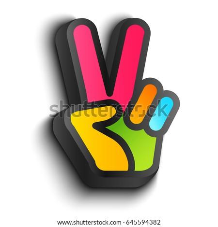 Vector Icon Colorful Hand Peace Symbols Stock Vector 2018