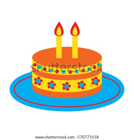 Vector Icon Cute Bright Birthday Cake Stock Photo Photo Vector