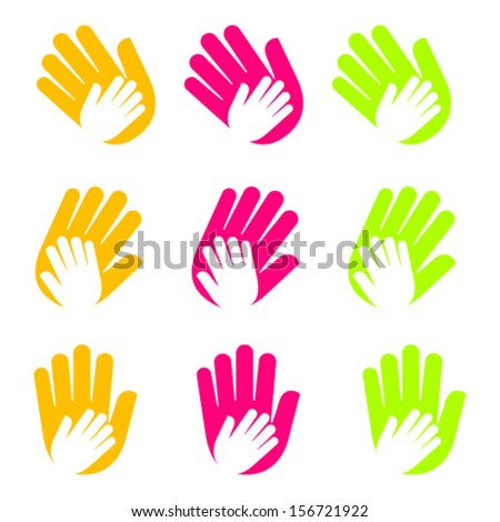 Vector icon with hands. Care symbols of children, about health