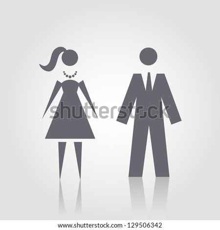 Vector icon with man and woman. Simple illustration with figures of peoples. Stylized silhouettes of person in formal dress. Abstract sign for print and web - stock vector
