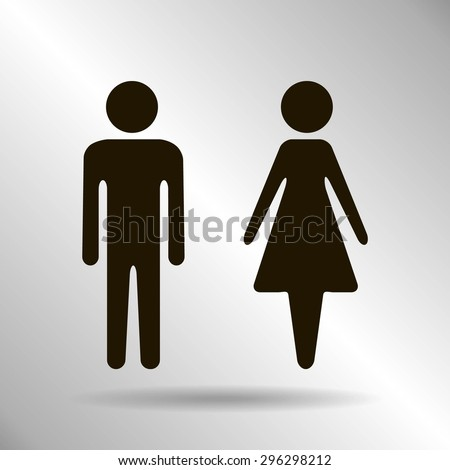 Vector icon with man and woman,toilet sign. Simple illustration with figures of peoples - stock vector