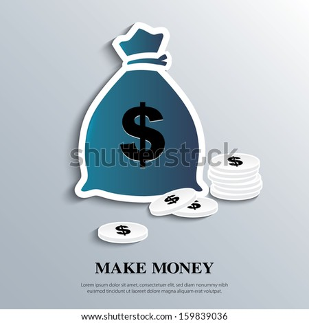 Vector icon with money bags and coins.  - stock vector