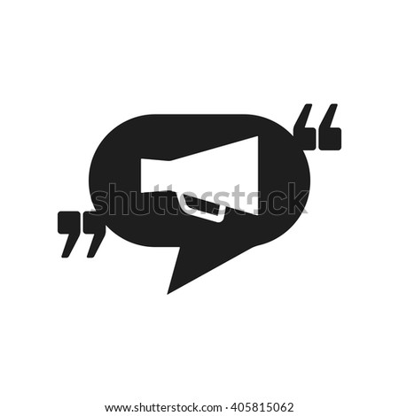 Vector icon with quote, speech balloon and megaphone. Black mark and bullhorn symbol. Feedback form template. Business dialog pictogram. Isolated comma design.  - stock vector