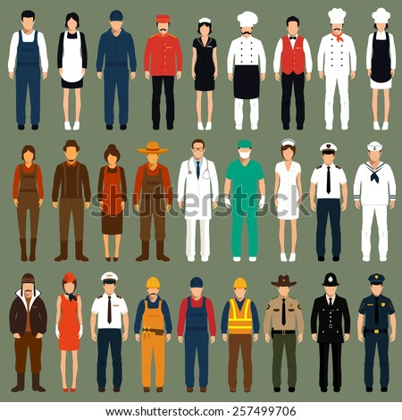 vector icon workers, profession people uniform, cartoon vector illustration  - stock vector