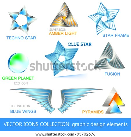 Vector icons and design elements collection - stock vector