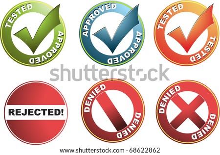 Vector icons-approved and denied - stock vector