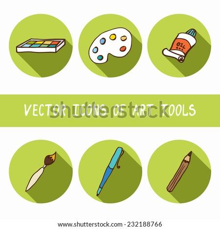 Vector icons art tools set, eps8. - stock vector